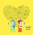 women couple internet love concept vector image vector image
