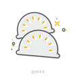 Thin line icons Gyoza vector image