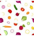 whole slices vegetables seamless pattern in flat vector image