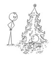 baby eat all candy from christmas tree without vector image vector image