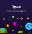 background with cartoon space planets and vector image