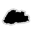 black silhouette of the country bhutan with the vector image vector image