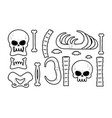 bones set anatomy icons skull and spine jaw and vector image vector image