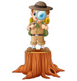 boy explorer with magnifying glass on tree stump vector image