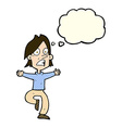 cartoon panicking man with thought bubble vector image vector image