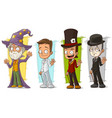 cartoon wizard and mime character set vector image vector image