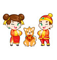 chinese boy and girl and dog vector image vector image