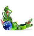 Christmas tree balls with green ribbon vector image vector image