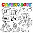 coloring book school cartoons 2 vector image vector image