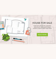 construction project architect house plan vector image vector image
