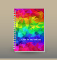 cover of diary or notebook neon rainbow triangular vector image vector image