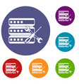 database with screwdriver and spanner icons set vector image