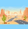 desert texas landscape cartoon desert vector image vector image
