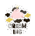 dream big childish with cute pink vector image vector image