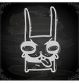 Evil Bunny Drawing on Chalk Board vector image vector image