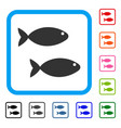 fish pair framed icon vector image