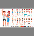 fitness girl man animated sport male vector image vector image