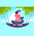 flat young girl with tablet headphones at hammock vector image vector image