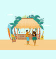 hawaiian ocean coast with characters and beach bar vector image vector image