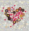 hearts with buttons on vector image vector image