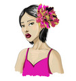japanese fashion girl model with flowers vector image