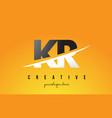kr k r letter modern logo design with yellow vector image vector image