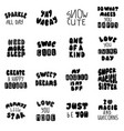lettering typography girl overlay set vector image