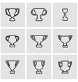 line trophy icon set vector image vector image