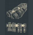 mechanical gearbox blueprints vector image vector image