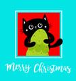 merry christmas black cat holding fir tree kitty vector image