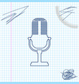 microphone line sketch icon isolated on white vector image vector image