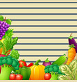 paper design background with vegetables and fruits vector image