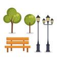 park set elements icons vector image