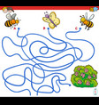 paths maze game with insects and flowers vector image