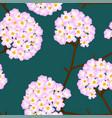 pink trumpet flower on green background vector image vector image