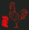 rooster or cock logo isolated on black background vector image vector image