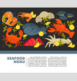 seafood restaurant menu of fresh fish vector image vector image