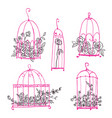 set decorative cages with flowers line art vector image vector image