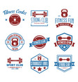 set of fitness emblems signs labels badges vector image vector image
