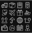 shipping and delivery icons set on black vector image vector image