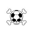 skull soccer ball football skeleton head emblem vector image