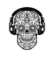 sugar skull with headphones design element for vector image vector image