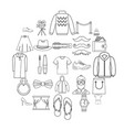 underwear icons set outline style vector image