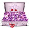 violet roses bouquet happy valentine day vector image
