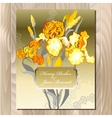Wedding card with yellow iris flower bouquet vector image
