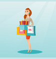 woman holding shopping bags and gift boxes vector image vector image