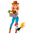 young pretty farmer woman in cowboy hat vector image vector image