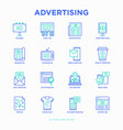 advertising thin line icons set vector image