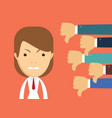 angry businesswoman and many hands with thumbs vector image vector image