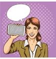 Beautiful woman with smart phone comic pop art vector image vector image